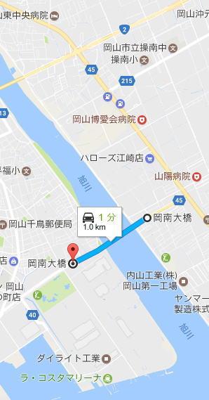 岡山環状道路の一部である岡南大橋の概要図