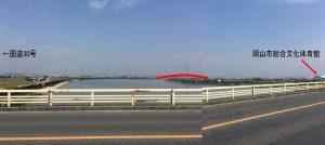 管理人が撮影した市道藤田浦安南町線沿線の国道30号および総合文化体育館の位置関係